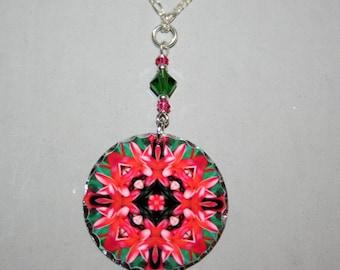 Mandala Pendant Charm Necklace Pink Frangipani Mandala Boho Chic Sacred Geometry Hippie Kaleidoscope Mod Unique Gift For Her New Age Mau Loa