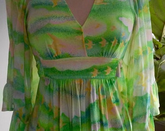 70s BIRDS and CLOUDS Dress--Acid Green and Yellow--Huge Ruffled Sleeves--Empire Waist--Sashes--Size 6