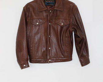 cropped brown leather trucker jacket
