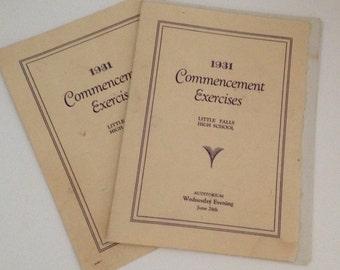Little Falls High School NY 1931 Graduation & Senior Banquet Programs Souvenir Mementos