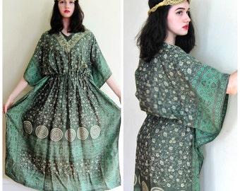 Vintage 1970s India Silk Green Caftan Dress / 70s Hippie Handmade Muu Muu Maxi Dress