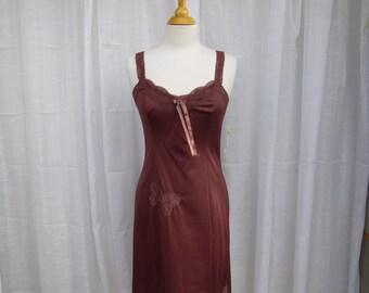 Slip Dress 34/36 S/M Burgundy Maroon Wine Rose Glam Garb Handmade USA Romantic Nightgown Victorian Steam-punk Vintage Hand Dyed Boho Hippie