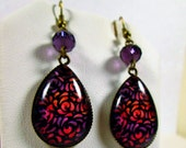 PURPLE SUNSET FLOWERS~Floral 18 x 25 mm Teardrop Glass Cabochon Dangle Earrings Crystal Bronze Setting