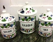 Set of Three French Limoges Porcelain Kitchen Canisters