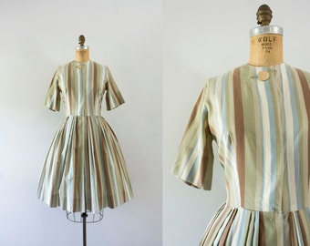 1950s Falling Leaves striped cotton dress / 50s autumn hue