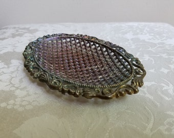 Vintage Metal Soap Dish Oval Textured With Great Patina & Ornate Flourishes