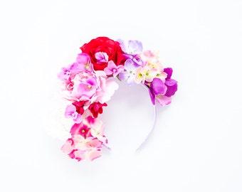 romantic red pink purple oversized flower crown headband // Bakeula / spring wedding floral headpiece hair accessory, nature woodland garden