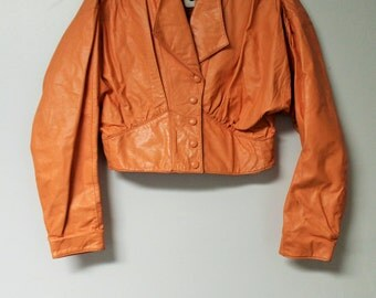 Peach/Orange 1980's Chia Leather Jacket