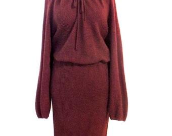 vintage lambswool dress - 1960s-70s burgundy angora sweater dress