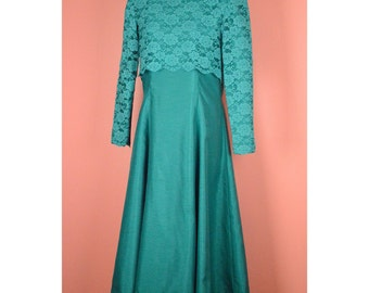 MARKED DOWN! VTG Lace Overlay Midi Dress