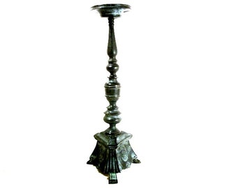 Antique Bronze Brass Candlestick Unique Tall Candle Holder Tripod Claw Paw Feet Church Gothic in Ornate Style