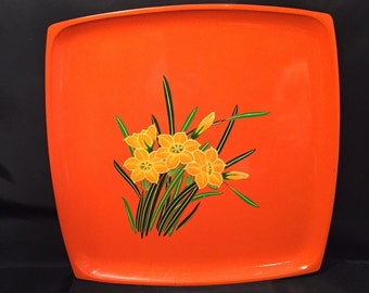 Lacquerware Tray Square Orange Serving Tray With Yellow Daffodils Hand Painted Made In Japan OMC