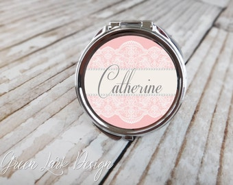 Pearls and Lace in Blush Pink Personalized Bridesmaid Gift Compact Mirror
