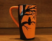 Halloween Travel Mug Cup for Coffee or Tea, With Black Scary Trees and Owls on an Orange Background
