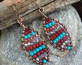 Tribal Seed Bead Earrings, Multi Color, Tribal Earrings, Seed Bead Earrings, Tribal Earrings, Boho Earrings, Gift for Her, Jewelry, Earrings