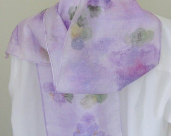 Hand painted silk scarf grape design purple  lavender mauve Canadian design