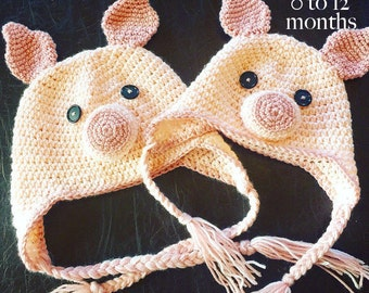Baby piggy hat crochet pattern 0 to 3 months 3 to 6 months 6 to 12 months INSTANT DOWNLOAD