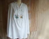 orchid - a large white  boho shabby chic  blouse with ruffles and embroidery