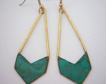 Verdigris Chevron Earrings