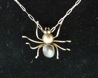 Sterling Silver Spider Pendant Necklace - Black Onyx Back - Signed Chain & Pendant - 925