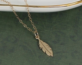 Feather Jewelry, Gold Feather Necklace, Nature Jewelry, Boho Necklace, Layering Necklace, Minimal Necklace, Charm Necklace