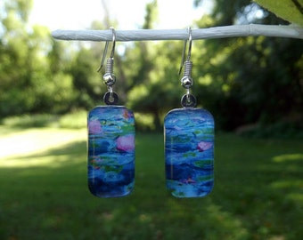 Monet Water Lily earrings, 1919, blue, classic art earrings, small glass earrings,  impressionism, pink flower, pastel, lilly, water lilies