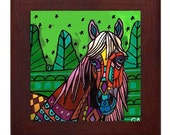 Framed Horse Art Ceramic Tile by Heather Galler - Ready To Hang Tile Frame Folk Art Gift