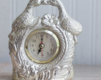 Vintage Bird Block, Art Nouveau Clock, Kissing Birds Clock, Vintage Table Clock, Vanity Clock, Silver Bed Side, Love Bird, Hollywood Regency