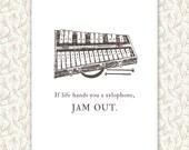 Xylophone Print, Custom Quote, typography art, music teacher gift