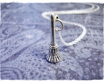 Tiny Broom Necklace - Sterling Silver Broom Charm on a Delicate Sterling Silver Cable Chain or Charm Only