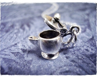 Silver Teapot Necklace - Sterling Silver Teapot Charm on a Delicate Sterling Silver Cable Chain or Charm Only