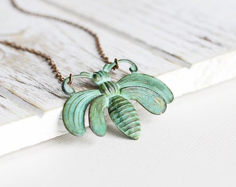 Large Bee Necklace - Aged Patina Bee Pendant Necklace, Antiqued Copper Plated Chain, Green Patina Necklace, Summer Jewelry, Insect Jewelry