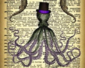 OCToPuS WiTH SeA HoRSeS on DiCTioNaRY PaGe PRiNT (Or DiGiTaL DoWNLoaD) - ALTeReD ArT