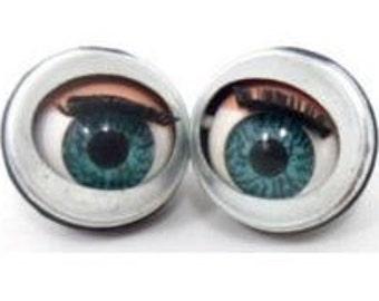 100 pairs , 200 pcs. doll sleepy Winking flirty blinking metal blue eyes 15mm