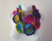 Crochet Scarf, infinity Flower Scarf, Crochet Necklace, Colorful Scarf, infinity Scarf, Circle Accessories