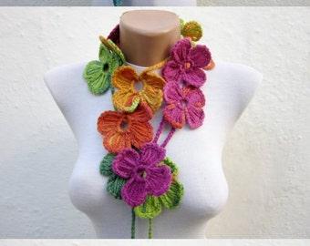 Crochet Scarf, Flower lariat Scarves, Women Winter Accessories, Skinny Scarves, Crocheted Jewelry, Green Pink Yellow