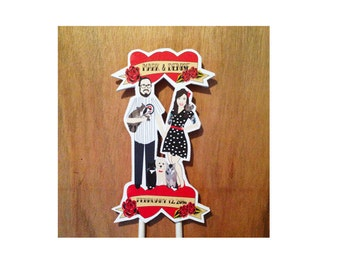 Custom Wedding Cake Topper Family Pets Rockabilly Retro Vintage Unique Rock and Roll