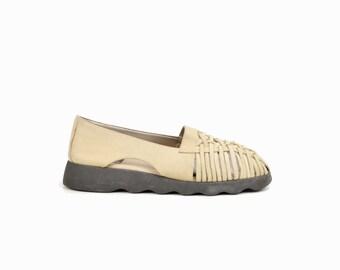 Vintage 90s Leather Platform Sandals / Cream Leather Sandals / Huaraches Sandals - women's 8