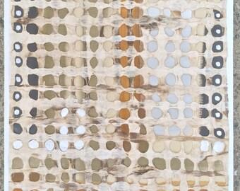 "Zen Original Mixed Media Painting on Wood- Modern Tribal-12x12x1"" White-Lt. Grays- Squash Orange Gray Black-Bronze Metallic-Japanese Paper"