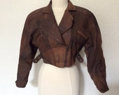 Vintage Brown Suede Cropped Motorcycle Jacket  - Women's Leather Bomber Jacket