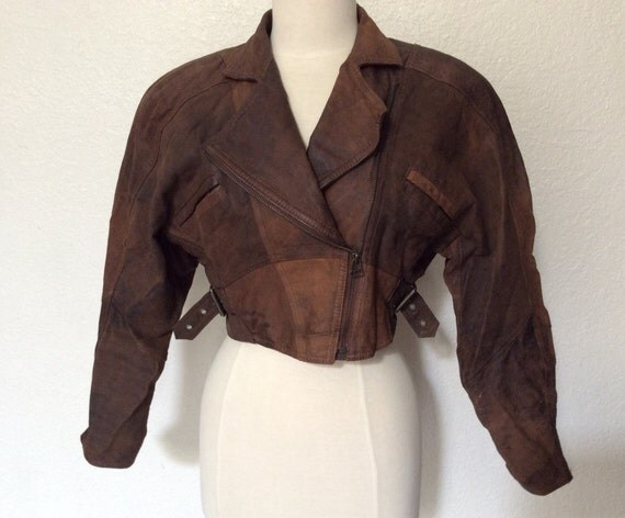 Vintage Brown Suede Cropped Motorcycle Jacket Women's