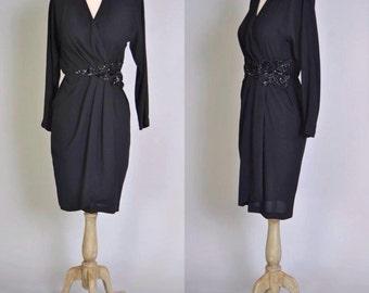 Vintage 80s Wrap Dress Sequin Detail Cache Dress Sequin Chiffon Little Black Dress LBD XS S
