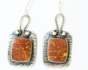 Cherry Creek Jasper Earrings in Sterling Silver Handcrafted