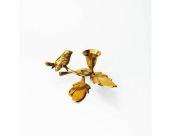Vintage Brass Bird on Branch Candle Holder
