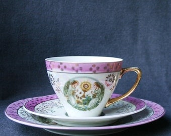 Pink precious vintage cup and desert plate. Elegant souvenir from her Communion.