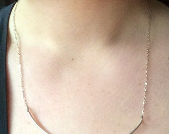Curved Bar Necklace, sterling silver, simple