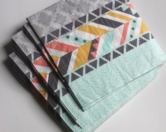 25 WILD ONE Bohemian Small Napkins Paper Where the Wild Things Are Birthday Party Baby Pink Grey Mint Yellow Aztec Southwest Arrow Tribal