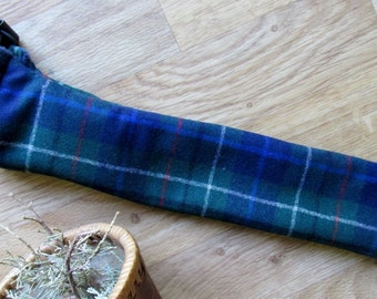Whistle Fife Case Recorder Pouch, Pipe, Quena, or Drumstick Woodwind Bag - Tartan 13 x 3