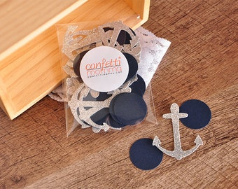 Nautical Bridal Shower Decor.  Handcrafted in 2-3 Business Days.  Glitter Silver and Navy Anchor Confetti 50CT.