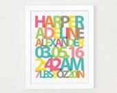 Baby Name Print, Girls Nursery Art, Baby Birth Stats Print, New Baby Gift, Birth Announcement ArtGirls Nursery Decor